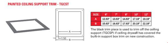 "TEMP GUARD 2100 DEG GALV 7"" CEILING SUPPORT TRIM  7TGCST"