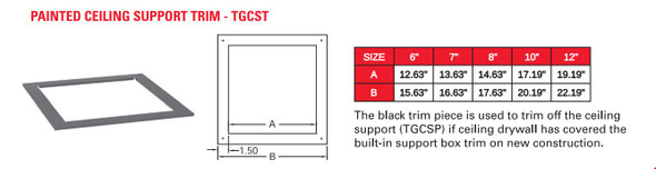 "TEMP GUARD 2100 DEG 8"" CEILING SUPPORT W/TRIM  8TGCST"