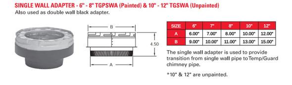PAINTED SINGLE WALL ADAPTER  8TGPSWA-1