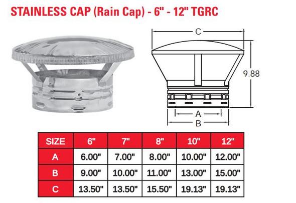 "TEMP GUARD 2100 DEG 8"" RAIN CAP  8TGRC"