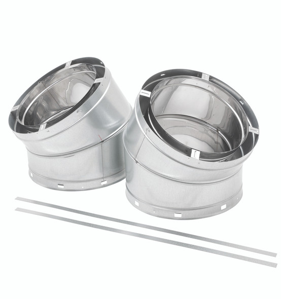 """13"""" ECO-STEEL INSULATED CHIMNEY FLUE (STAINLESS STEEL) 30° Offset Kit - SS (Offset, Return, Straps, Screws)13INECO30OS"""