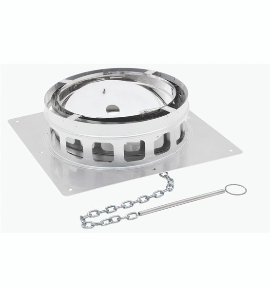 """13"""" ECO-STEEL INSULATED CHIMNEY FLUE (STAINLESS STEEL) Anchor Plate with Damper - SS 13INECOAPD"""