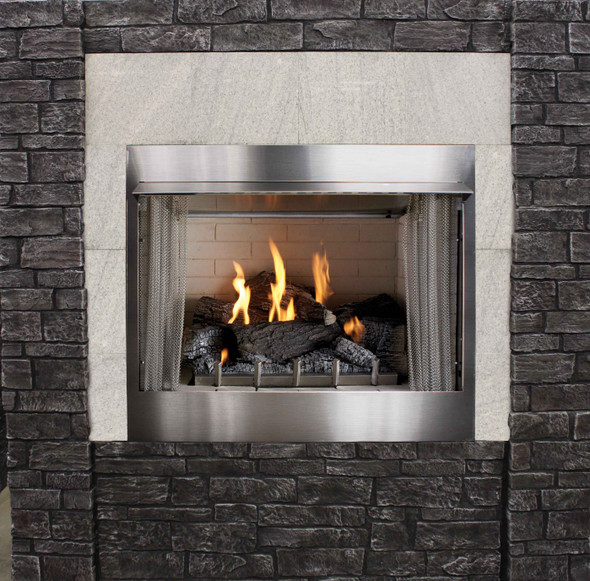 Outdoor Stainless Steel Fireplace - Refractory Liner, Intermittent Ignition includes Variable Remote Control - OP42FP72M