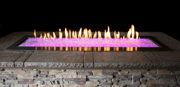 Outdoor Stainless Steel Linear Fire Pit 48-in., Manual, Multicolor LED Lighting- OL48TP18