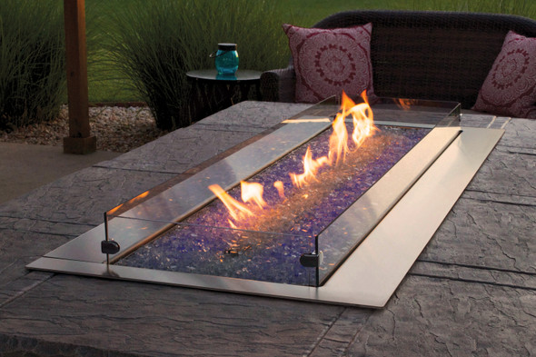 Carole Rose Costal Collection Outdoor Fire Pit, Linear 60, Wind Deflector Glass, Tall - WG604LT