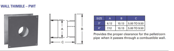 """Pellet Vent, Biomass Chimney, Type """"L"""" Vent, 3-in., Wall Thimble, 6 pc. - 3PWT"""