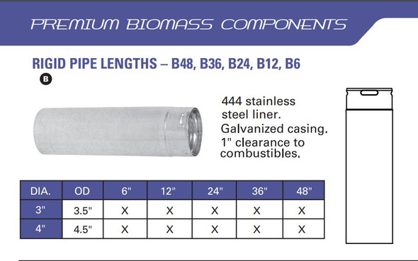 3-in. Premium Biomass Vent, 6-in. Straight Pipe - 3B6