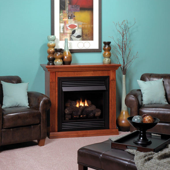Vail Vent-Free Fireplace with Contour Burner, Deluxe 26 Intermittent Pilot with On/Off Switch VFD26FP70L