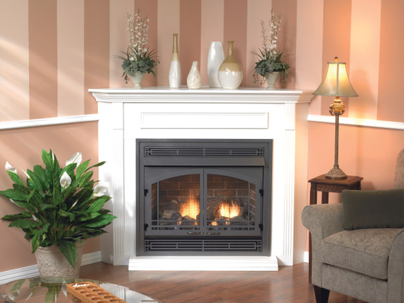 Vail Vent-Free Fireplace with Slope Glaze Burner, Premium 36 Intermittent Pilot with On/Off Switch VFPA36BP70L