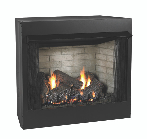 Breckenridge Deluxe Firebox shown with Refractory Liner and Sassafrass Log Set