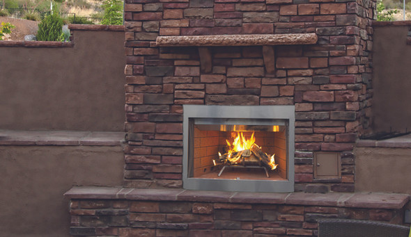 "36"" Outdoor Wood Burning Fireplace, Stacked Refractory Panels WRE3036"