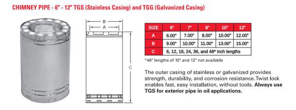 "TEMP GUARD 2100 DEG GALV 10""X6  LENGTH  10TG6"