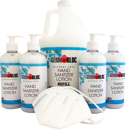 Small Office Pack - Alcohol Free Hand Sanitizer Lotion w/ KN95 Masks