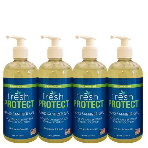 Fresh Protect Lime 16oz 80% Ethyl Alcohol Hand Sanitizer Gel 4 Pack