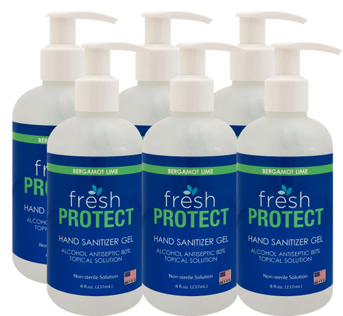 Fresh Protect Lime 8oz 80% Ethyl Alcohol Hand Sanitizer Gel 6 Pack