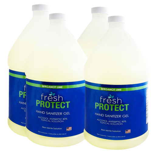 Fresh Protect Lime 1 Gallon 80% Ethyl  Alcohol Hand Sanitizer Gel Case of 4
