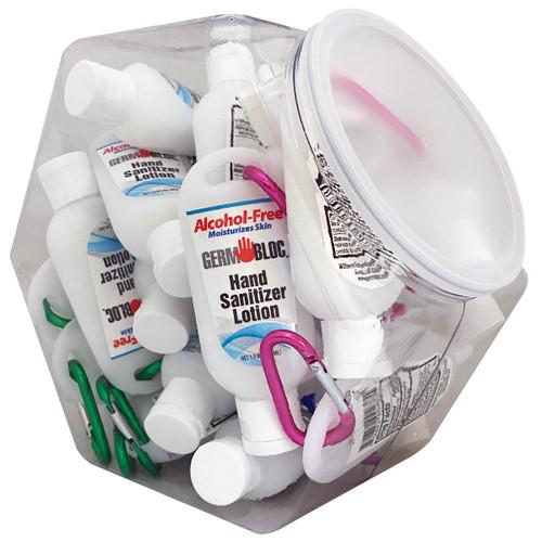 GermBloc Hand Sanitizer Lotion 1.5oz Caribiner Bottles - 24 Pack Fish Bowl