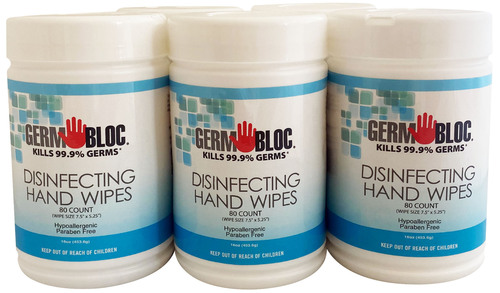 5 Pack of GermBloc Alcohol Free Disinfecting Hand Wipes