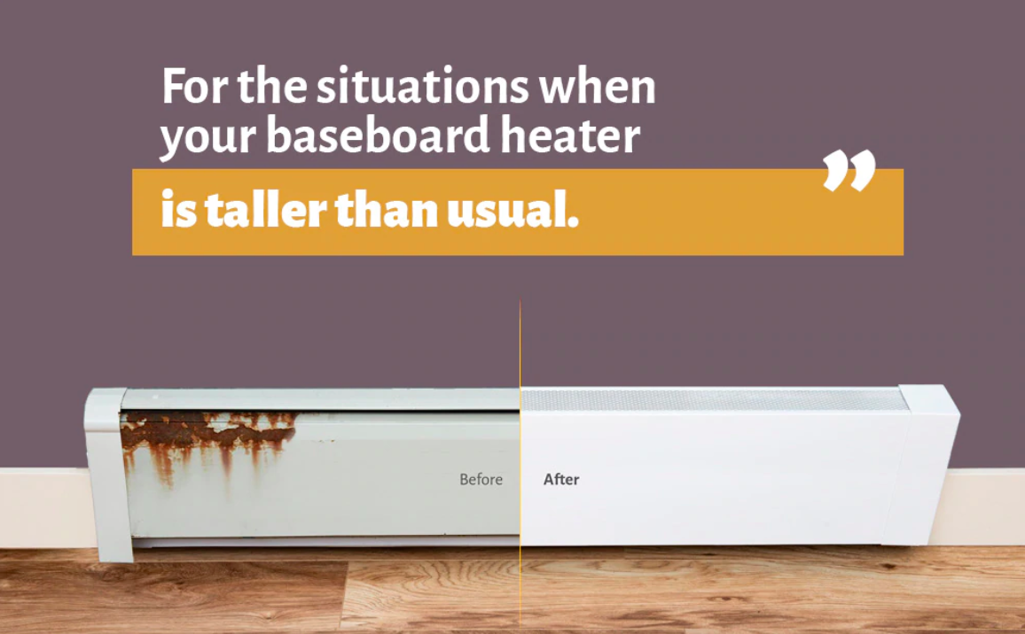 Tall baseboard heater cover