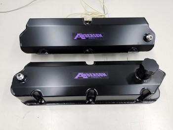 """Scratch & Dent"" Anderson Fabricated Valve Covers for 86-93 Mustang SC/Turbo with Ventilation for Catch Can (Satin Black)"