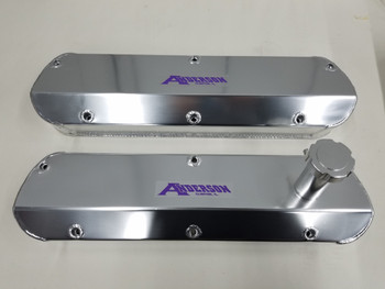 Anderson Fabricated Valve Covers with Fill Tube 86-93 5.0L/351W Clear Silver