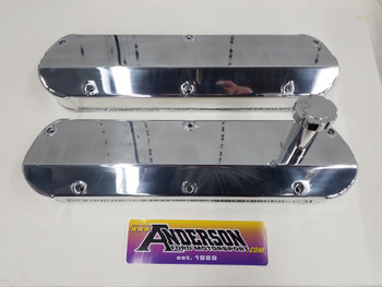 Anderson Fabricated Valve Covers with Fill Tube 86-93 5.0L/351W Polished