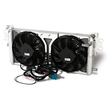 AFCO Aluminum Satin Heat Exchanger 2007 & Up Shelby GT500 Dual 10 inch fans Double Pass