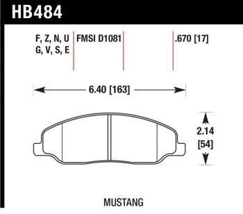 HB484F.670 Hawk Performance Front Brake Pad Set for 2005 - 2014 Mustang