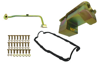 5039WND Weiand Oil Pan Kit 7QT- Gold Zinc Finish-79/93 Mustang 351W Conversion Drag Pan
