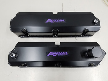 Anderson Fabricated Valve Covers for 86-93 Mustang SC/Turbo with Ventilation for Catch Can (Satin Black)