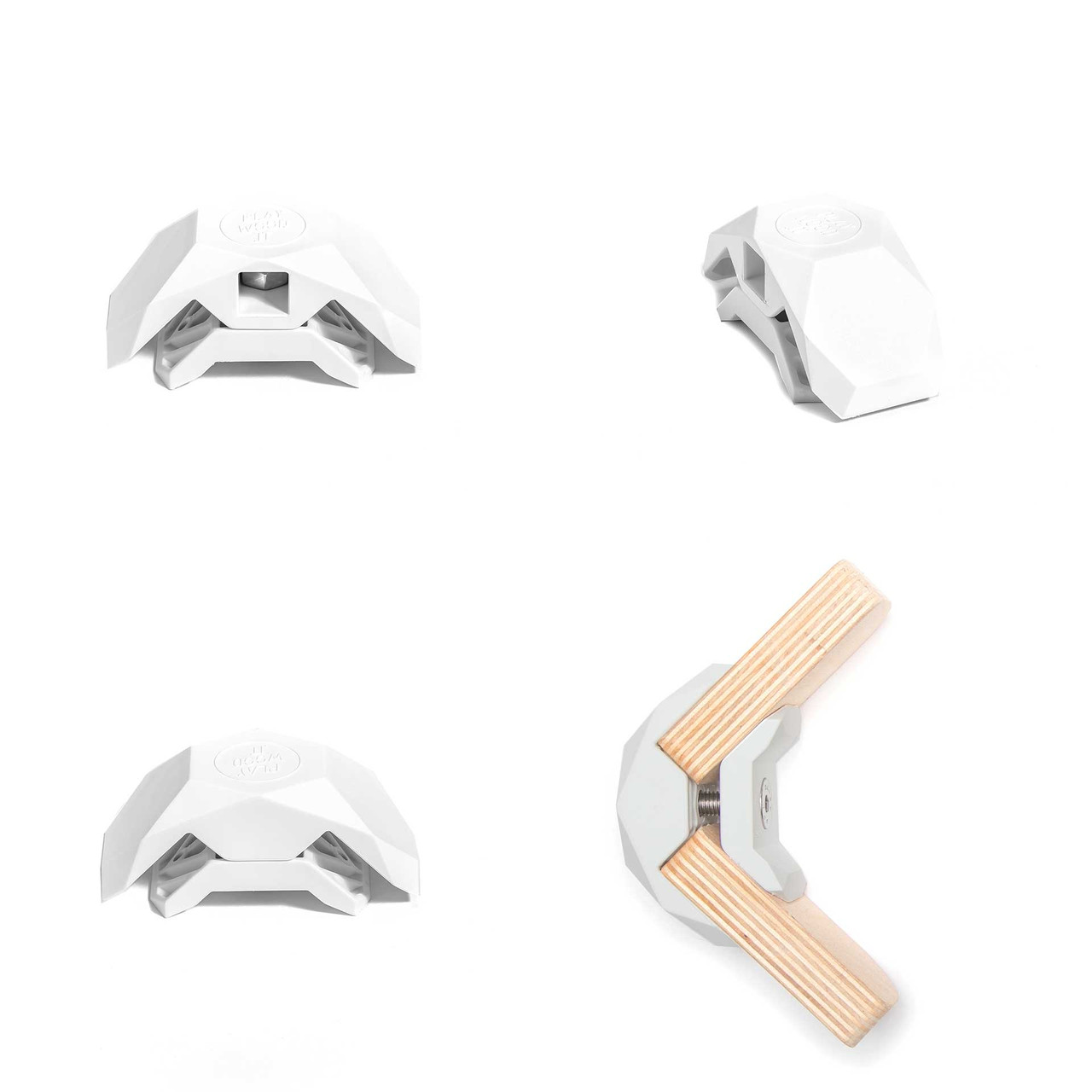 90-Degree Playwood Connector for Tool- Free Furniture Assembly - White