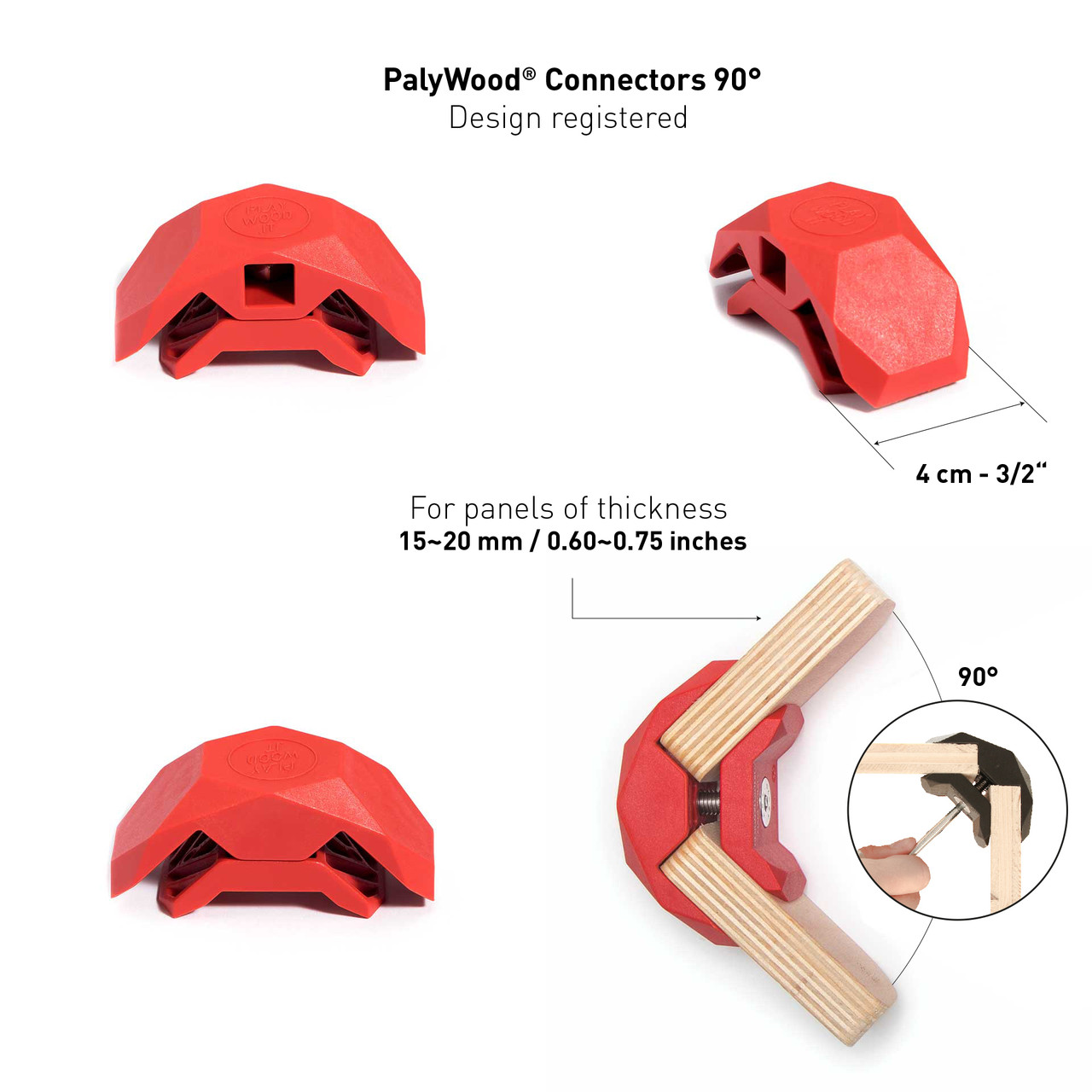 PlayWood Connector Tool-Free Modular Pop-Up 3-Cube Storage Kit w/Plywood