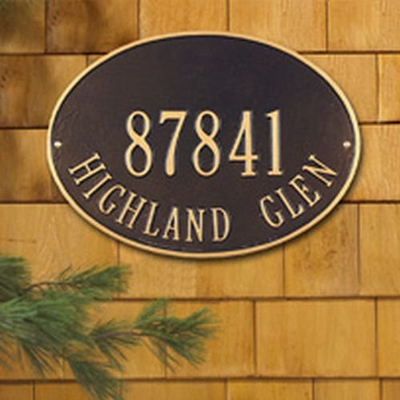 Whitehall 2923 Hawthorne Standard Oval Wall Two Line Address Plaque - Customize!