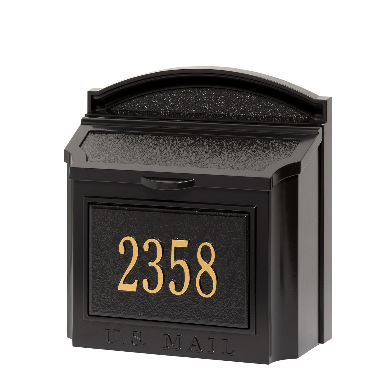 Whitehall Black Wall Mounted Locking Security Mailbox with Custom Address Plaque