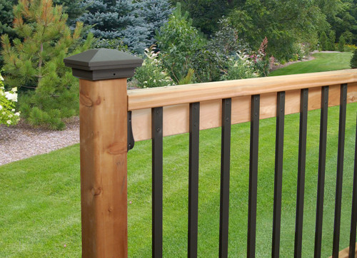 "DekPro Aluminum 6x6 Post Cap for wood post Textured Black 5-5/8"" actual opening"