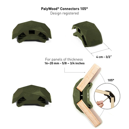 PlayWood Connector for Tool-Free Furniture (Military Green, 105 Degree, 2 boxes)