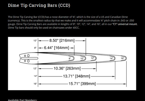 Cannon Woodworking Chainsaw Carving Bar C1 Mount 14 inch .050 Gauge Dime Tip