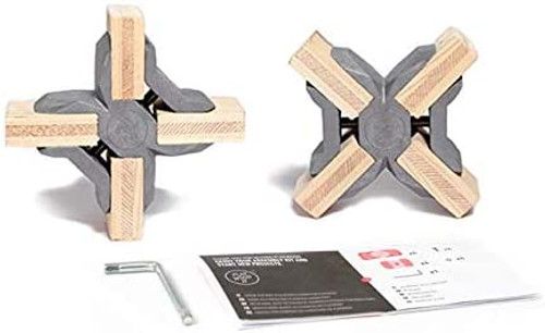 PlayWood X-Connectors for Tool-Free Furniture & Storage (Gray, 90 Degree)