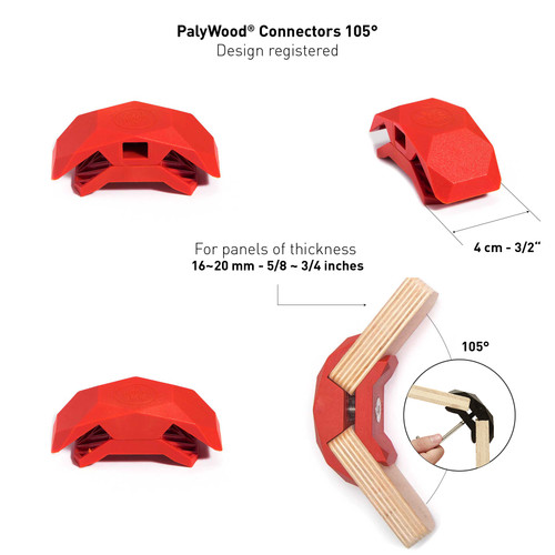 105-Degree Playwood Connector for Tool- Free Furniture Assembly - Red