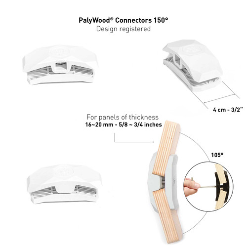 150-Degree Playwood Connector for Tool- Free Furniture Assembly - White