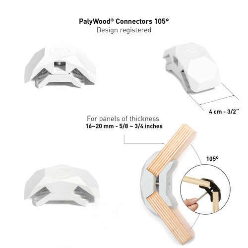 105-Degree Playwood Connector for Tool- Free Furniture Assembly - White