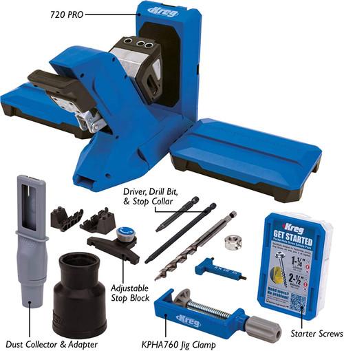 Kreg Woodworking Cabinet making Pocket-Hole Jig 720 PRO, Blue - KPHJ720PRO