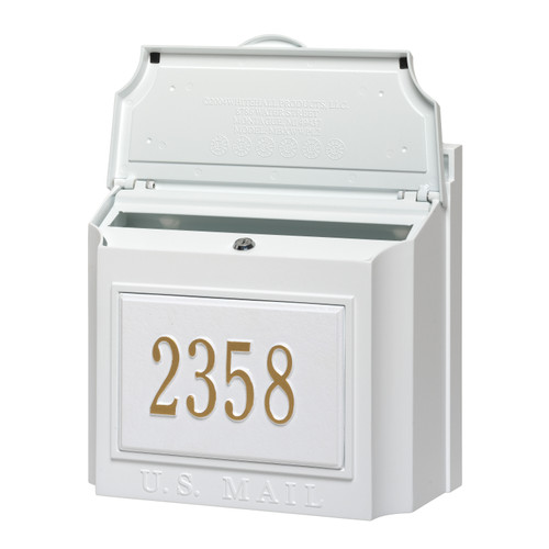 Whitehall White Wall Mounted Locking Security Mailbox with Custom Address Plaque
