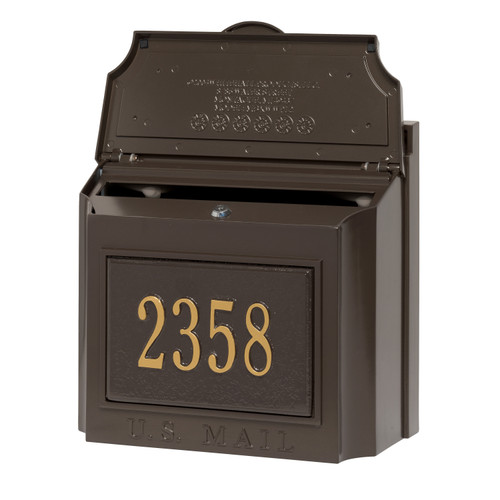 Whitehall French Bronze Wall Mounted Locking Security Mailbox with Custom Plaque
