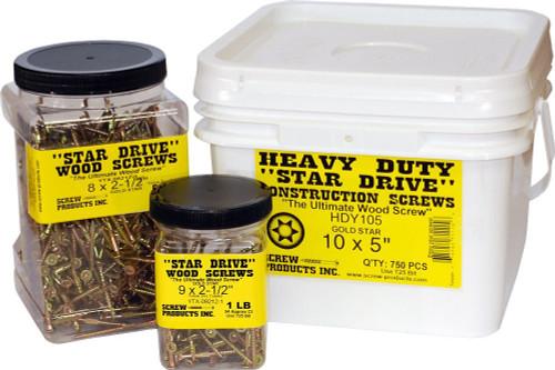 Screw Products, Inc. YTX-08134-1 Gold Star Interior Star Drive Wood Screws