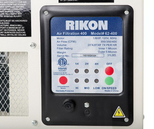 RIKON Power Tools 62-400 Air Filtration System 300, 350, 400 CFM with Remote
