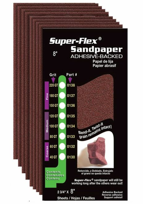 STYLE-LINE CORP INTL SUPER FLEX SANDPAPER 8-Inch, 120 Grit (8pk)