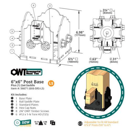 "OZCO Ornamental Wood Ties 6""x6"" Post Base Kit + 2''x4'' Saddle in Laredo Sunset"
