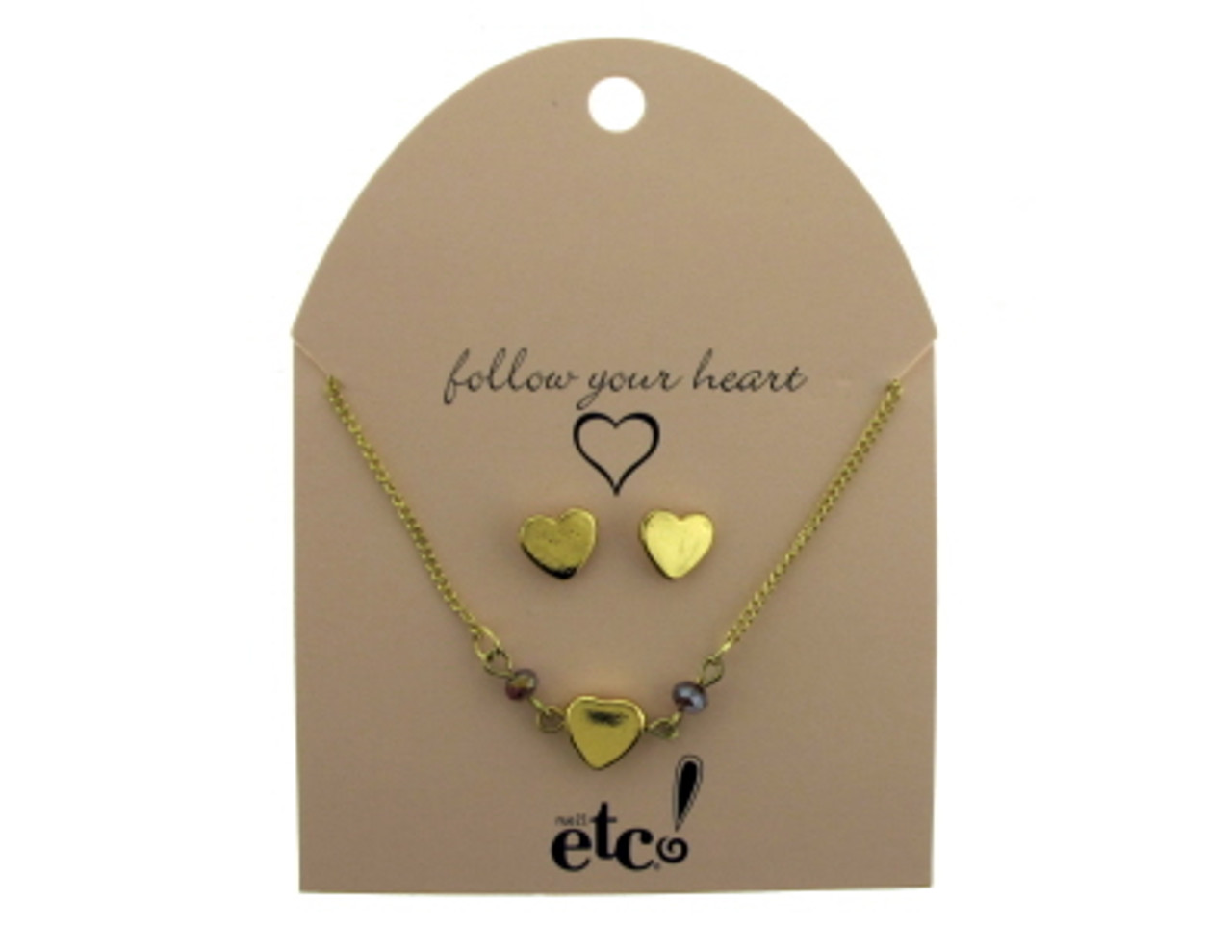 Gold tone heart necklace and earring set GRMT60