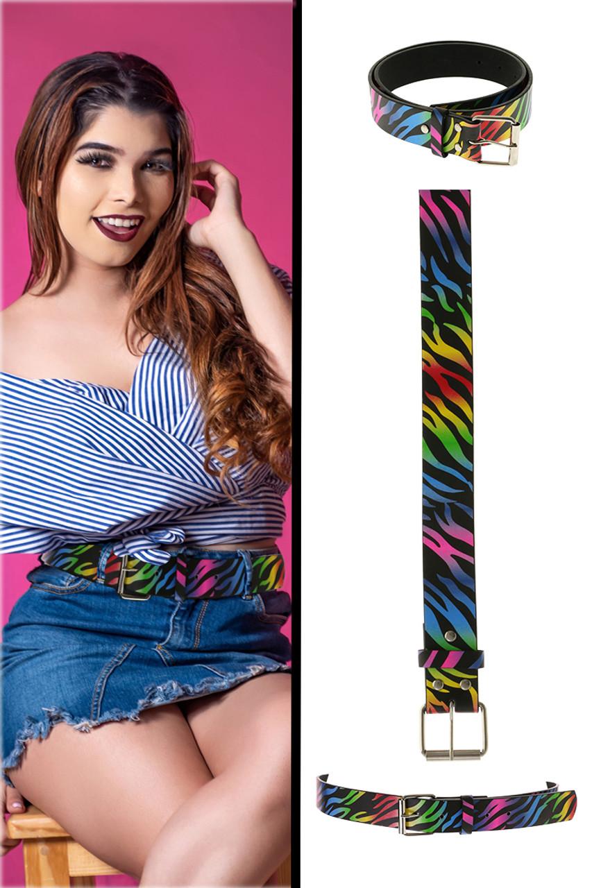 Belts with rainbow zebra print design throughout 12BLT885H